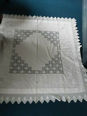 Vintage  Large Square White Linen Embroidered Lace Edged Tablecloth 60x60ins VGC • 12.99£