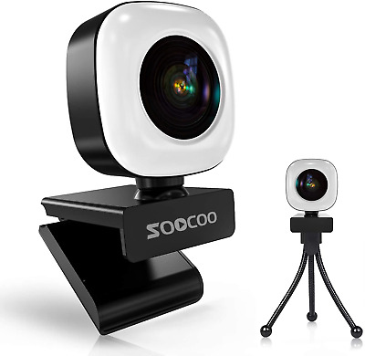 2K Webcam With Ring Light And Microphone, Soocoo Q9 USB Plug And Play Streaming • 49.68£