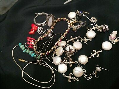 $ CDN63.44 • Buy 925 Sterling Silver Jewelry Scrap Repair Lot Some Signed, Some Stones See Pics