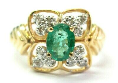 AU1300.54 • Buy Oval Green Emerald & Diamond Cocktail Ring 14K Solid Yellow Gold 1.16Ct SIZEABLE