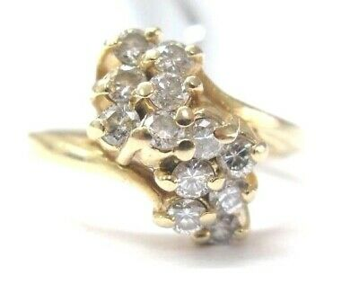 AU650.28 • Buy Natural Round Diamond Waterfall Cluster Yellow Gold Jewelry Ring 14Kt .70Ct