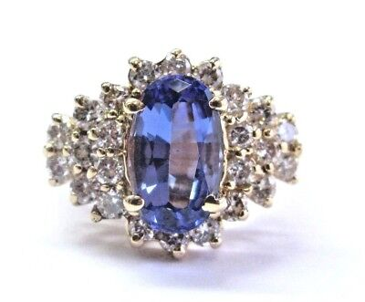 AU4038.52 • Buy Natural Oval Gem Tanzanite & Diamond Yellow Gold Ring 14Kt 5.90Ct