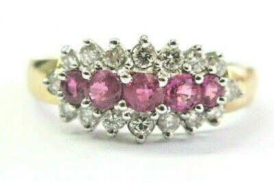 AU1163.64 • Buy RUBY & Diamond Three-Row Ring 14Kt Yellow Gold .35Ct 36Ct FINE RUBY SIZEABLE