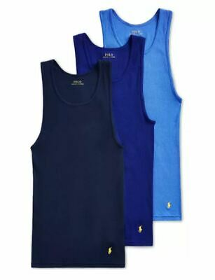 £32.92 • Buy Polo Ralph Lauren 3-Pack Mens Cotton Ribbed Classic Fit Tank Top Navy/Royal/Blue