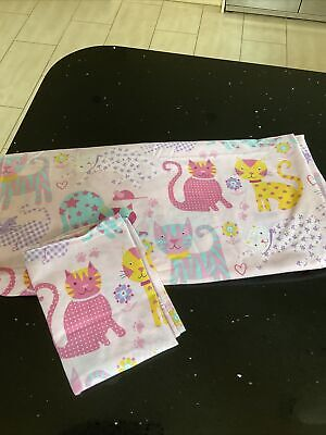£8 • Buy Pink & White Cat & Mouse Motif Single Duvet Cover And Pillow Case