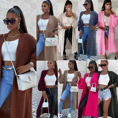 £16.99 • Buy Women's Chunky Knitted Balloon Sleeve Oversized Ladies Long Jumper Maxi Cardigan