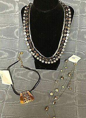 $ CDN9.40 • Buy Lot Of 3 Fashion Costume Necklaces Signed BB Rhinestone Statement Gold Tone Bead