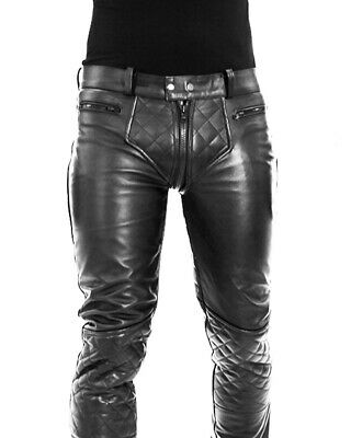 $92.35 • Buy Cowhide Aniline Men's Leather Pant Double Zipped Gay Bikers Pants / Leather Pant