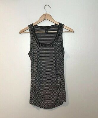 $ CDN5.06 • Buy White House Black Market Striped Tank Top Size Small Beaded Ruched