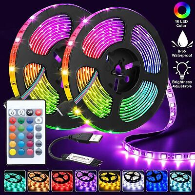 $11.99 • Buy LED Strip Lights TV Back Light 5050 RGB Colour Changing With 24Key Remote 5M