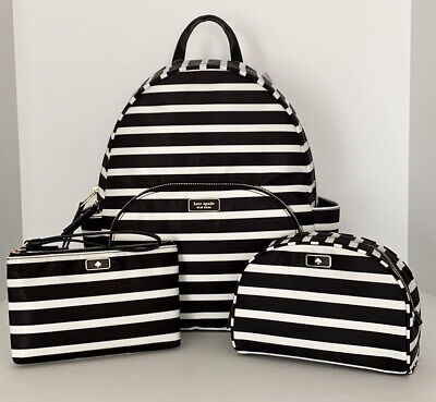 $ CDN375.35 • Buy Kate Spade Dawn Sailing Stripe Large Backpack, Wristlet, Dome Cosmetic Pouch NWT