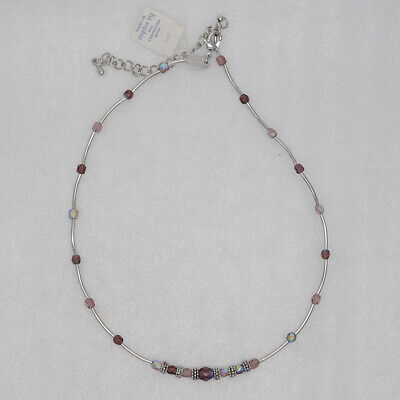 $ CDN10.06 • Buy Lia Sophia Jewelry Silver Plated Purple Beads Simple Textured Necklace For Women