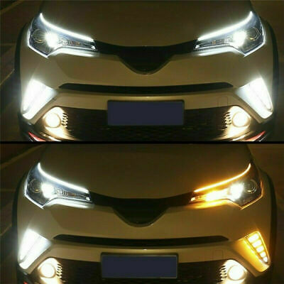 $12.99 • Buy 2 X 60CM DRL Amber LED Light Sequential Flexible Turn Signal Strip For Headlight