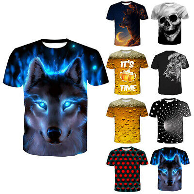 £9.99 • Buy Unisex 3D Printed Summer Short Sleeve Shirt T-Shirts Pullover Tops Blouses Tees