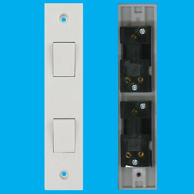 £5.05 • Buy 2x 2 Way 2 Gang White Plastic Architrave Horizontal Wall Light Switch 10A