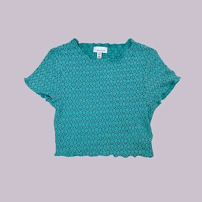 £10 • Buy Topshop Green Stretch Cropped Crochet Mesh Lettuce Frill Tee Top - 10