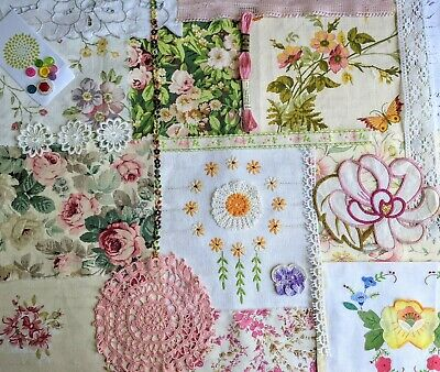 Slow Stitch Kit - Country Garden, Vintage Floral Fabric, Lace Bundle Stitching  • 17.95£