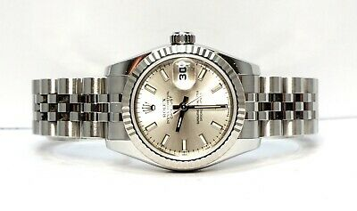 $ CDN8711.84 • Buy ROLEX Datejust 26 - 179174 - Silver Baton Dial - 2006 - Jubilee - Box And Papers