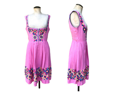 AU99.47 • Buy Vintage Pink Dirndl Dress With Floral Embroidery S/M 70's Austrian Boho Clothing