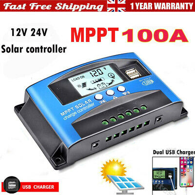 12V/24V MPPT 100A Solar Panel Battery Charge Controller Regulator Dual USB LCD • 19.99£