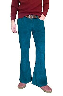 £36.99 • Buy Mens Flares Paisley Turquoise Blue Bell Bottoms Corduroy Pants Hippie Trousers