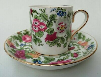 £9.99 • Buy Crown Staffordshire Vintage Floral Demitasse Coffe Cup Can & Saucer