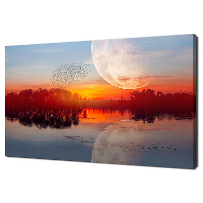£89.99 • Buy Birds Flying Above The Lake Against Moon Sunset Canvas Print Wall Art Picture