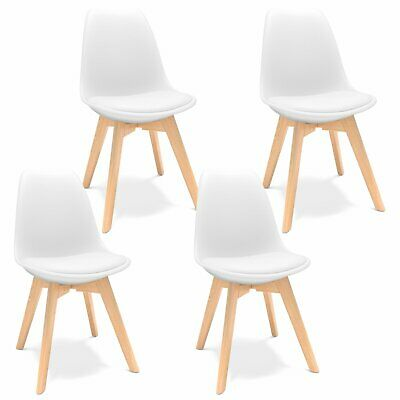 AU84.09 • Buy 4 Pieces Dining Chairs Replica PU Side Chair With Beech Wood Legs And Soft Padde
