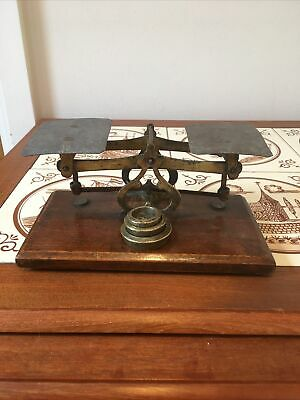 £32 • Buy Vintage Small Post Office Letter Scales With Three Brass Weights