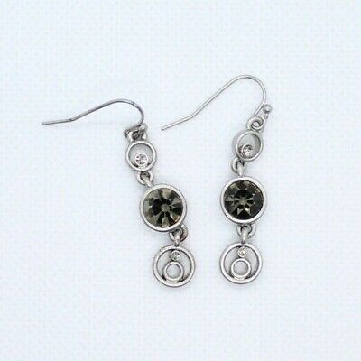 $ CDN18.15 • Buy Lia Sophia Matte Silver Dangle Earrings Tiered Circles Crystals 1.25  Length