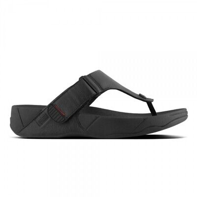 £48.06 • Buy FitFlop TRAKK II Mens Smooth Leather Toe Post Casual Summer Sandals All Black