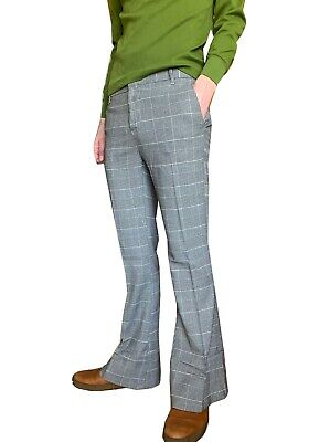 £36.99 • Buy Mens FLARES Prince Of Wales Checked Bell Bottoms Hippie Vtg Indie Trousers Mod