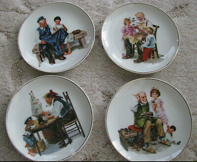 $ CDN15.06 • Buy Set 4-Norman Rockwell Small Plates 6.5'' Wide 1986
