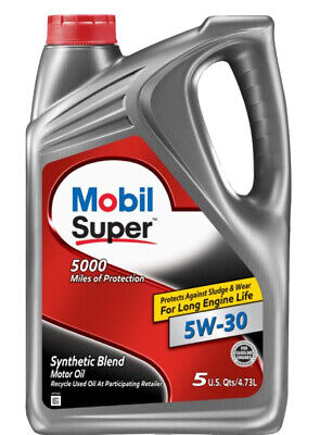 $ CDN20.62 • Buy 5 Quarts Engine Motor Oil Mobil SUPER Synthetic Blend SAE 5W-30
