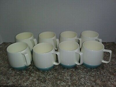 $34.99 • Buy Set Of 8 Vintage VACRON WARE Insulated Coffee Cups Aqua Blue & White BOPP-DECKER