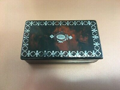 £39.84 • Buy Antique Painted Wooden Snuff Box Faux Tortoise Shell And Silver Inlay