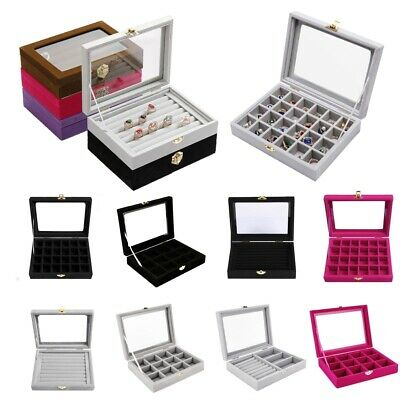 £10.99 • Buy Jewellery Box Earring Storage Case With Glass Lid For Display And Organize