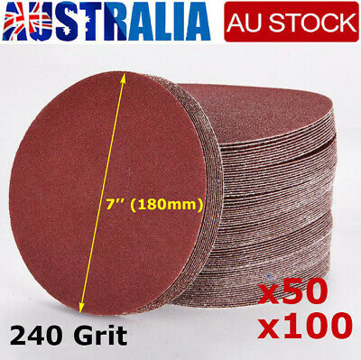 AU27.89 • Buy 50/100PCS 180mm 7  Sanding Discs 240 Grit Orbital Sander Pads Hook Loop AU Stock