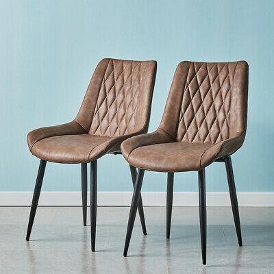 £119.99 • Buy 2pcs Diamond Dining Chairs Faux Leather Padded Seat Metal Legs Restaurant Chair