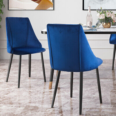 £89.99 • Buy 2pcs Dining Chairs Table Set Lint Fabric Padded Seat Metal Legs Reception Chair