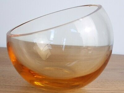 £7.50 • Buy Vintage Caithness Half Moon Amber Crystal / Glass Bowl Hand Blown In Scotland.