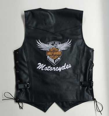 $109.65 • Buy Harley-Davidson Mens Real Leather Vests Jacket Motorcycle Design With Embroidery