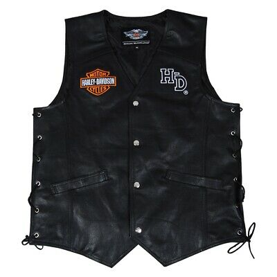 $ CDN147.25 • Buy Mens Real Leather Vests Jacket Harley-Davidson Motorcycle Design With Embroidery