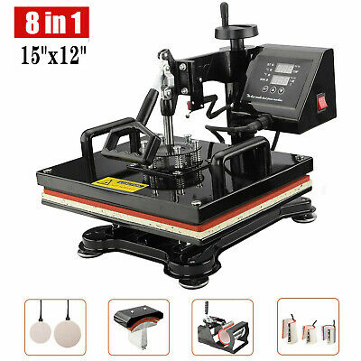 AU310.99 • Buy 8 In 1 Digital Heat Press Transfer T-Shirt Mug Hat Sublimation Printing Machine