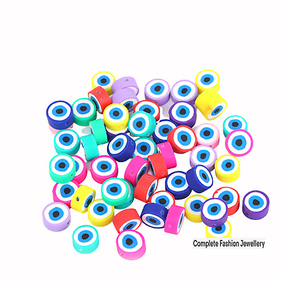 £3.99 • Buy 30pcs 10mm Multi Coloured Evil Eye Polymer Clay Beads /crafts &jewellery Making