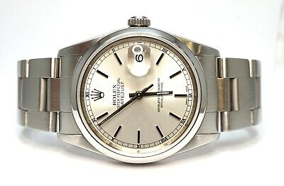 $ CDN8173.45 • Buy ROLEX Datejust 36 16200 2003 Silver Baton Dial Oyster Brac Box And Papers 36mm
