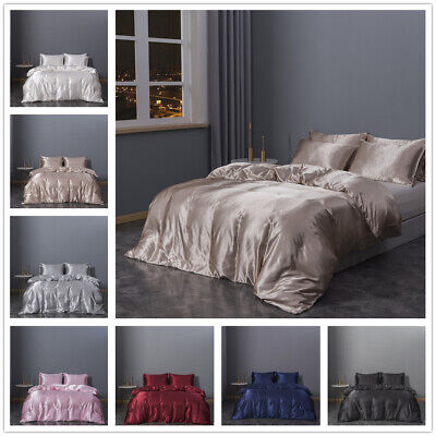 £26.99 • Buy Silk Like Duvet Cover Super Soft 3 Pieces Bedding Set Single Double King Size
