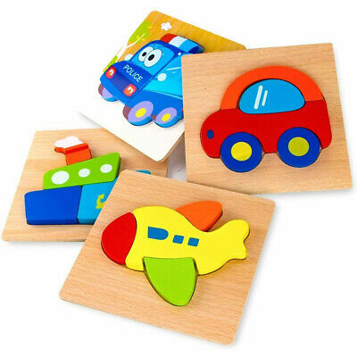 £15.49 • Buy Wooden Toys - 4 Pack Vehicle Jigsaw Puzzles For Toddlers 1 2 3 Years Old Kids