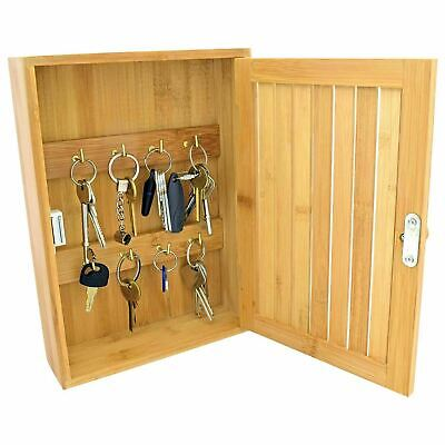 £12.45 • Buy Bamboo Key Rack Box Storage Cabinet Brackets Wooden Wall Mounted Porch Cupboard