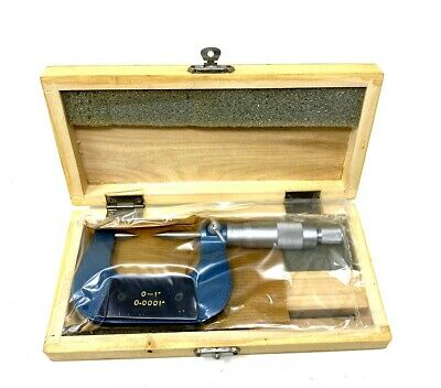 $39.98 • Buy Nib! Special Price 0-1  30 Degree Point Micrometer 0.0001  Carbide Wooden Case